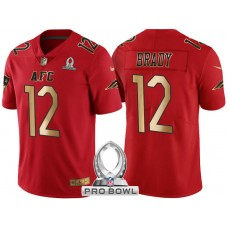 New England Patriots #12 Tom Brady AFC 2017 Pro Bowl Red Gold Limited Jersey