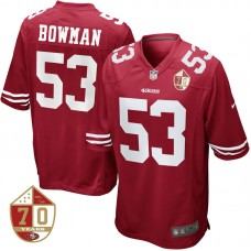 San Francisco 49ers #53 NaVorro Bowman Scarlet 70th Anniversary Patch Game Jersey