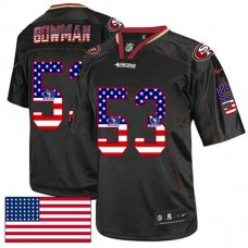 San Francisco 49ers #53 NaVorro Bowman Black USA Flag Fashion Jersey