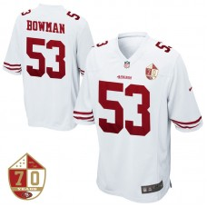 San Francisco 49ers #53 NaVorro Bowman White 70th Anniversary Patch Game Jersey