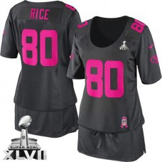 Women's 49ers Jerry Rice Dark Grey Game Breast Cancer Awareness Super Bowl Jersey