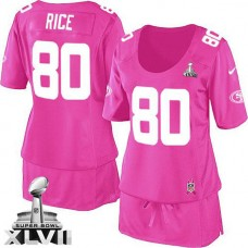 Women's 49ers Jerry Rice Pink Game Breast Cancer Awareness Super Bowl Jersey