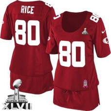Women's 49ers Jerry Rice Red Game Breast Cancer Awareness Super Bowl Jersey
