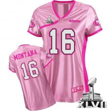 Women's 49ers Joe Montana Pink Game Be Luvd Super Bowl Jersey