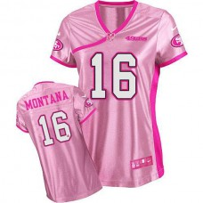 Women's 49ers Joe Montana Pink Game Be Luvd Jersey