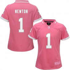 Women's Carolina Panthers #1 Cam Newton Pink Bubble Gum Jersey