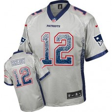New England Patriots #12 Tom Brady Grey Drift Fashion Jersey