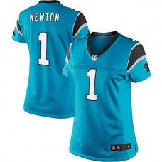 Women's Carolina Panthers #1 Cam Newton Panther Blue Limited Jersey
