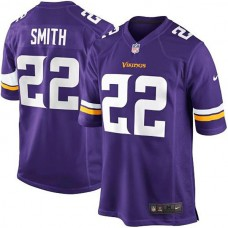 Youth Minnesota Vikings #22 Harrison Smith Purple Team Color Game Jersey