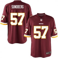 Youth Washington Redskins #57 Nick Sundberg Team Color Game Jersey