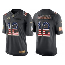 Green Bay Packers #12 Aaron Rodgers Anthracite Salute to Service USA Flag Fashion Jersey