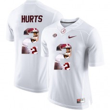 Alabama Crimson Tide #2 Jalen Hurts White Portrait Number Fashion College Football Jersey