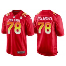 2018 Pro Bowl AFC Pittsburgh Steelers #78 Alejandro Villanueva Red Game Jersey