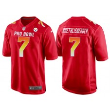 2018 Pro Bowl AFC Pittsburgh Steelers #7 Ben Roethlisberger Red Game Jersey