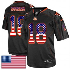 Cincinnati Bengals #18 A.J. Green Black USA Flag Fashion Jersey