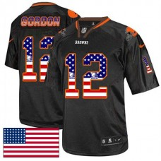 Cleveland Browns #12 Josh Gordon Black USA Flag Fashion Jersey