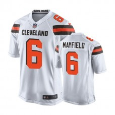 Cleveland Browns #6 Baker Mayfield White 2018 Draft Pick Game Jersey