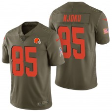 Cleveland Browns #85 David Njoku Olive 2017 Salute to Service Limited Jersey