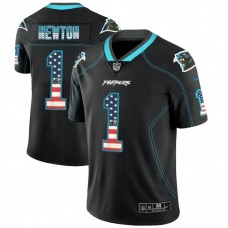 Carolina Panthers #1 Cam Newton Black 2018 USA Flag Fashion Color Rush Limited Jersey