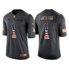Carolina Panthers #1 Cam Newton Anthracite Salute to Service USA Flag Fashion Jersey