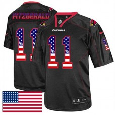 Arizona Cardinals #11 Larry Fitzgerald Black USA Flag Fashion Jersey