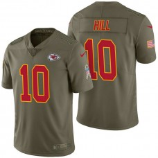 Kansas City Chiefs #10 Tyreek Hill Olive 2017 Salute to Service Limited Jersey
