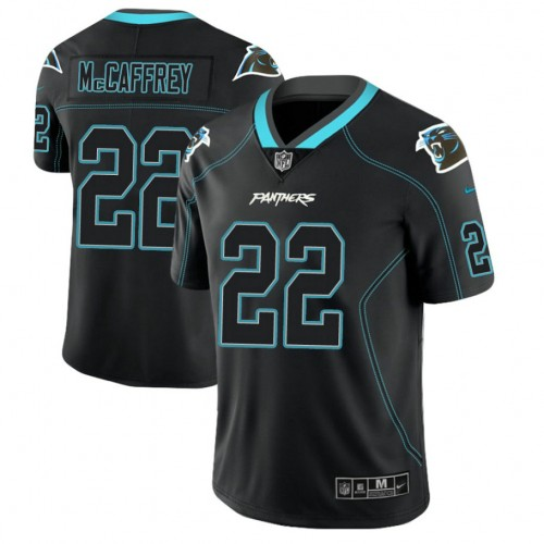 Carolina Panthers #22 Christian McCaffrey 2018 Lights Out Color Rush Limited Black Jersey