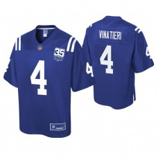 Youth Indianapolis Colts #4 Adam Vinatieri 35th Anniversary player Pro Line Royal Jersey