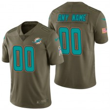 Miami Dolphins Olive 2017 Salute to Service Limited Customized Jersey