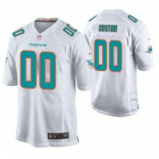 Miami Dolphins White Game Customized Jersey
