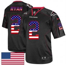 Atlanta Falcons #2 Matt Ryan Black USA Flag Fashion Jersey