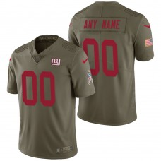New York Giants Olive 2017 Salute to Service Limited Customized Jersey