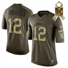 Green Bay Packers #12 Aaron Rodgers Green Salute To Service Limited Jersey