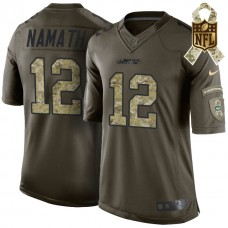 New York Jets #12 Joe Namath Green Camo Salute To Service Limited Jersey