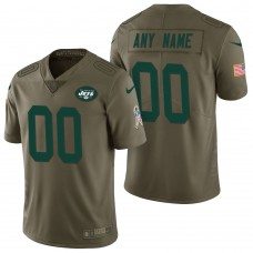 New York Jets Olive 2017 Salute to Service Limited Customized Jersey