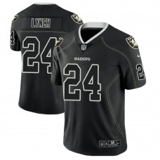 Oakland Raiders #24 Marshawn Lynch 2018 Lights Out Color Rush Limited Black Jersey