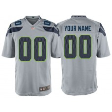 Seattle Seahawks Gray Game Customized Jersey