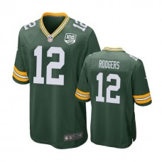 Green Bay Packers #12 Aaron Rodgers 100th Anniversary Game Green Jersey