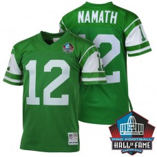 Hall Of Fame New York Jets #12 Joe Namath Green Retired Player Throwback Jersey