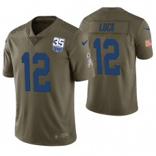 Indianapolis Colts #12 Andrew Luck Olive 35th Anniversary Salute to Service Limited Jersey