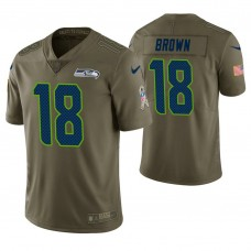 Seattle Seahawks #18 Jaron Brown Olive Salute to Service Jersey