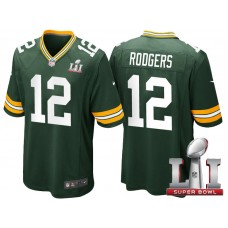 Green Bay Packers #12 Aaron Rodgers Green 2017 Super Bowl LI Patch Game Jersey