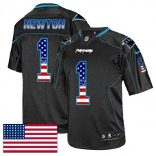 Carolina Panthers #1 Cam Newton Black USA Flag Fashion Jersey