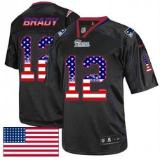 New England Patriots #12 Tom Brady Black USA Flag Fashion Jersey