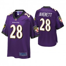 Youth Baltimore Ravens #28 Anthony Averett Purple Player Pro Line Jersey
