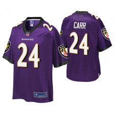 Youth Baltimore Ravens #24 Brandon Carr Purple Player Pro Line Jersey
