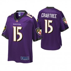 Youth Baltimore Ravens #15 Michael Crabtree Purple Player Pro Line Jersey