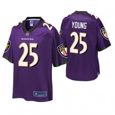 Youth Baltimore Ravens #25 Tavon Young Purple Player Pro Line Jersey