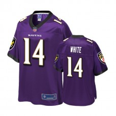 Youth Baltimore Ravens #14 Tim White Purple Player Pro Line Jersey