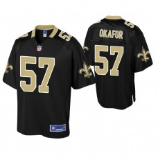 Youth New Orleans Saints #57 Alex Okafor Black Player Pro Line Jersey
